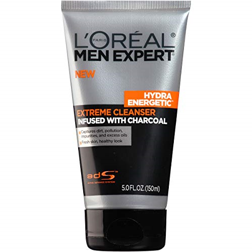 L'Oreal Paris Skincare Men Expert Hydra Energetic Facial Cleanser with Charcoal for Daily Face Washing, 5 fl. Oz