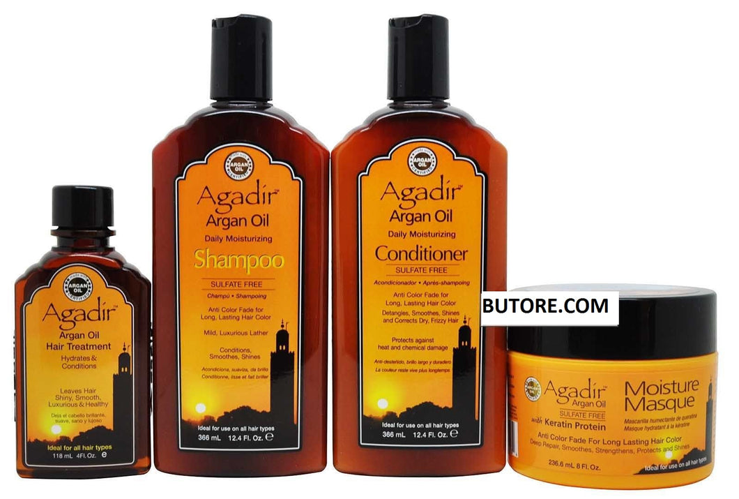 Argan Oil Moisturizing Shampoo&Conditioner 12.4 Oz, Masque 8 Oz, Oil 4 Oz