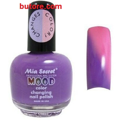2 jar of Mia Secret - Mood Color Temperature Changing Nail Polish MD04: purple to pink