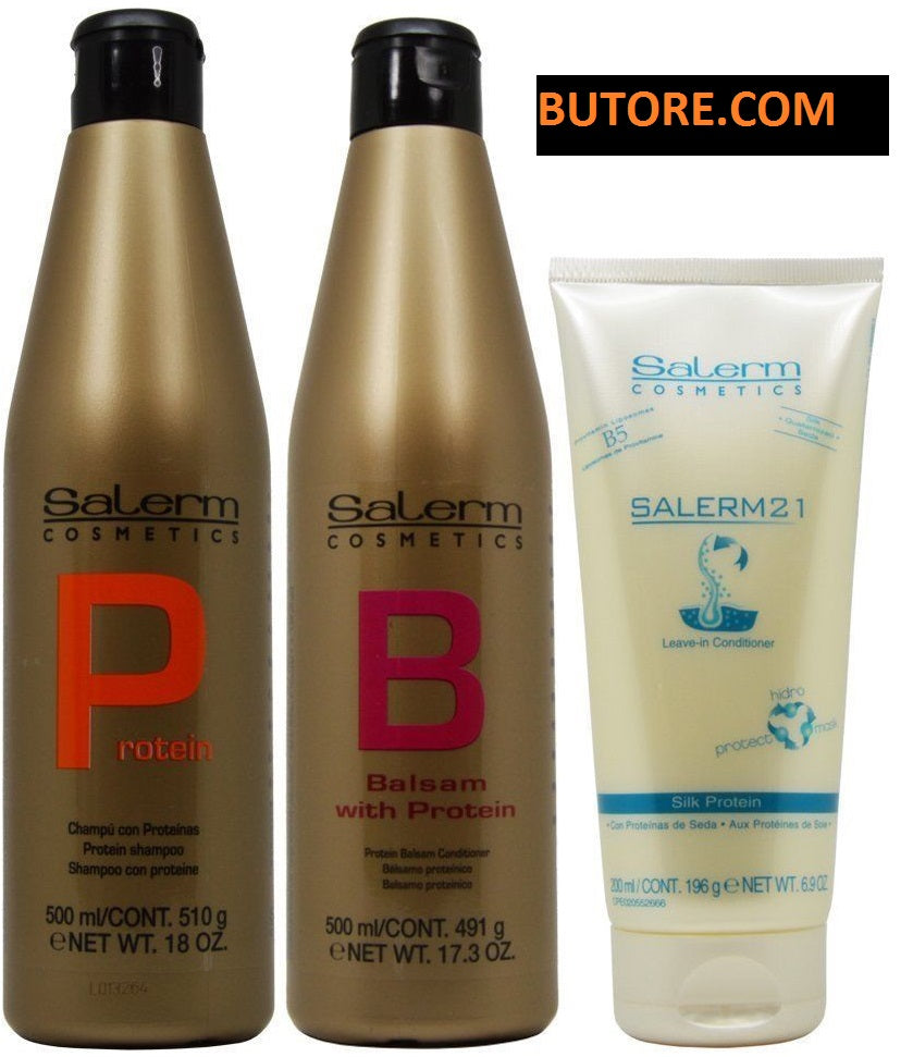 Salerm Shampoo & Conditioner 18oz & 21 Silk Protein LeaveIn 6.9oz