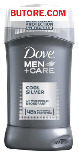 (2 Pack) DOVE DEODORANT 3 Ounce MENS COOL SILVER 1/4 MOISTURIZER