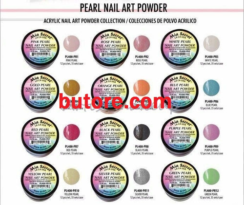 Mia Secret Pearl Acrylic Nail Powder Art Collection 12 Colors Set