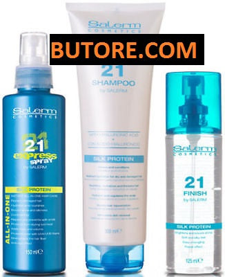 SALERM PROTEIN 21 KIT SHAMPOO 10 oz FINISH 4.22 oz EXPRESS SPRAY 5.04 oz