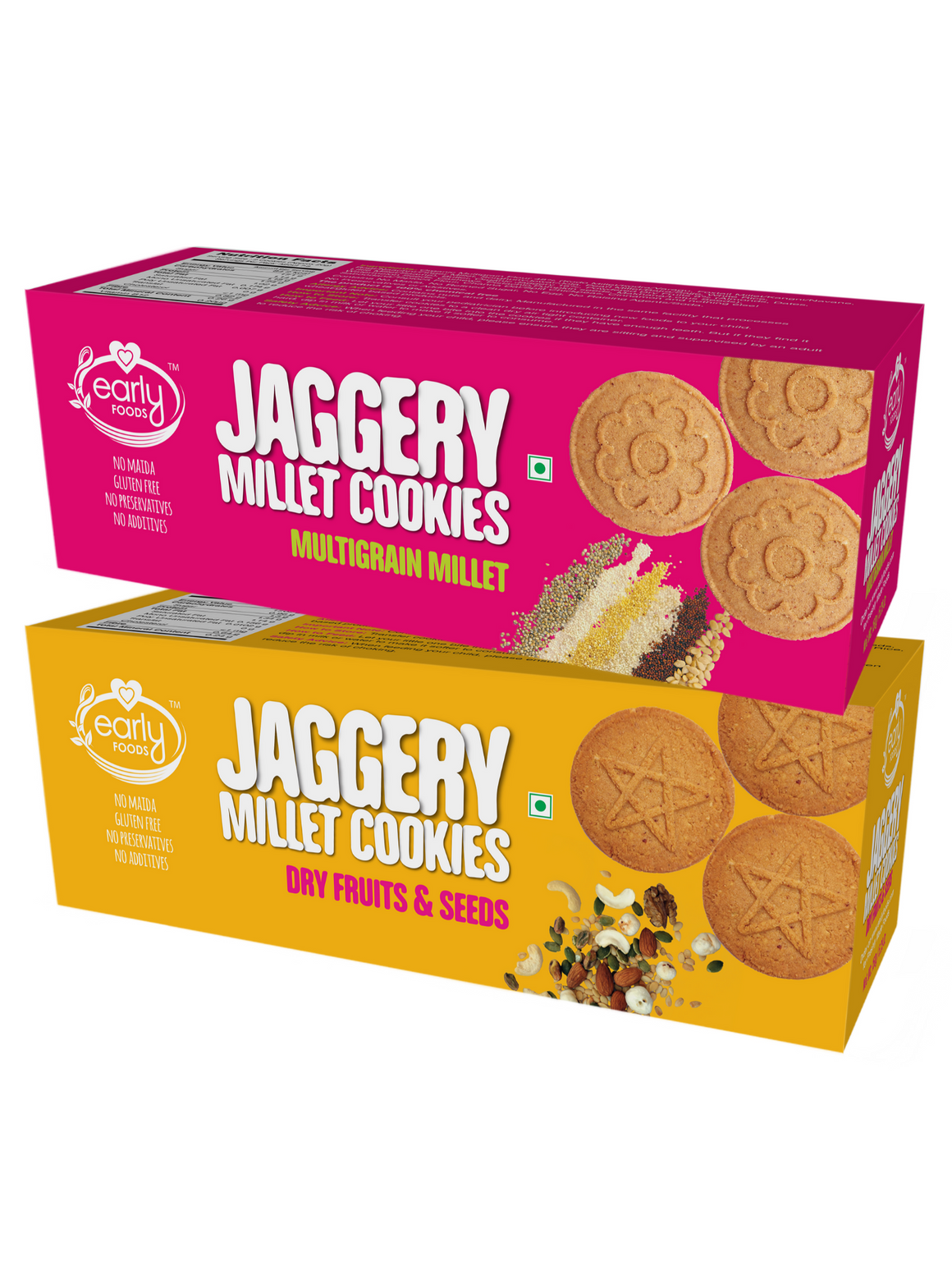 Assorted Pack of 2 - Dry Fruit & Multigrain Millet Jaggery Cookies X 2