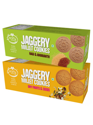 Assorted Pack of 2 - Dry Fruit & Ragi Amaranth Jaggery Cookies X 2, 150g each