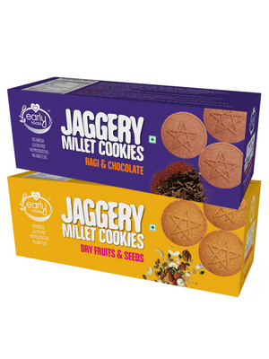Assorted Pack of 2 - Dry Fruit & Ragi Choco Jaggery Cookies X 2, 150g each