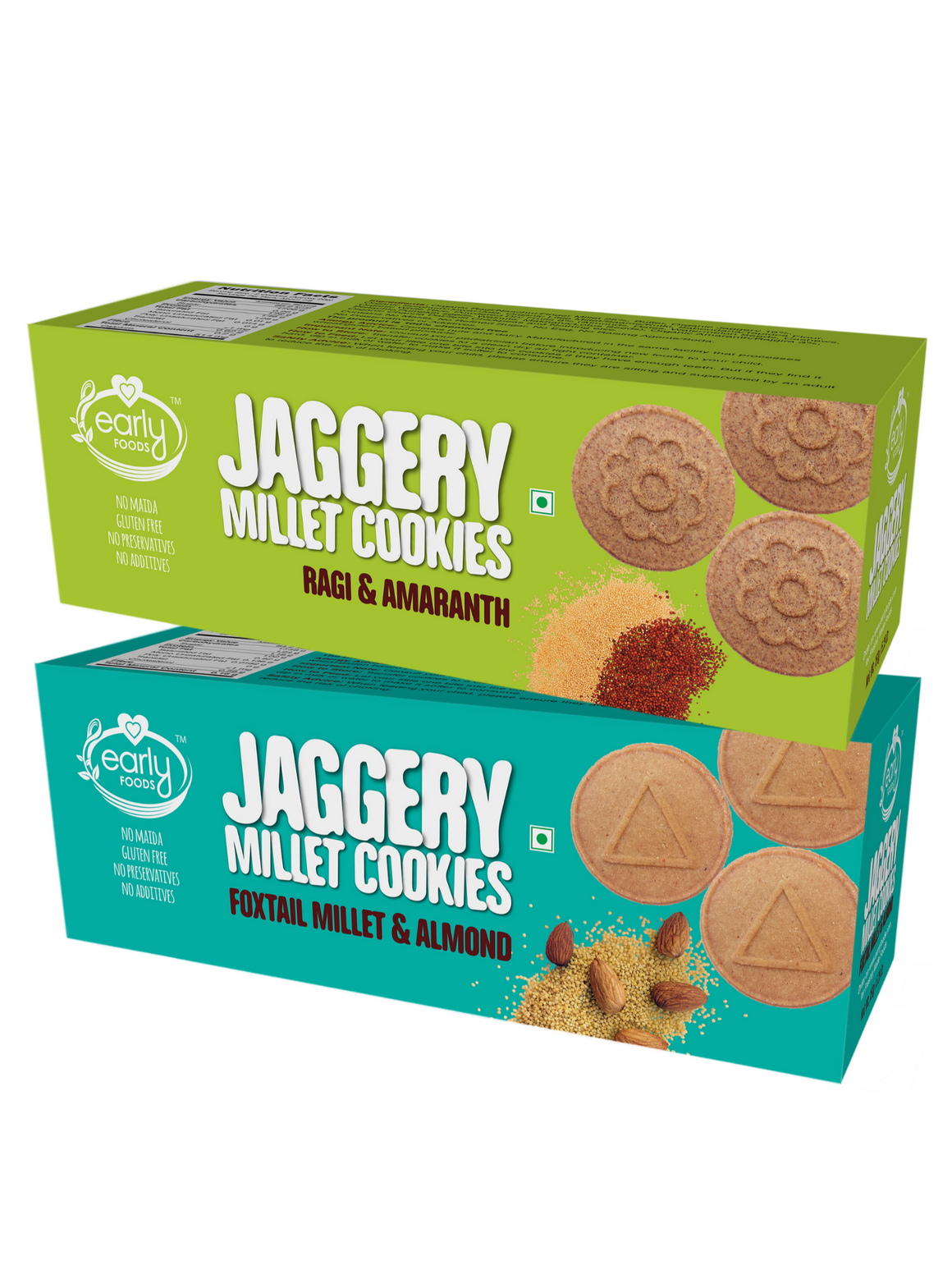 Assorted Pack of 2 - Foxtail Almond & Ragi Amaranth Jaggery Cookies X 2, 150g each