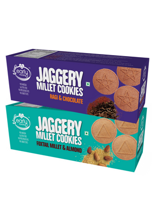 Assorted Pack of 2 - Foxtail Almond & Ragi Choco Jaggery Cookies X 2, 150g each