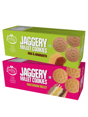 Assorted Pack of 2 - Multigrain Millet & Ragi Amaranth Jaggery Cookies X 2, 150g each