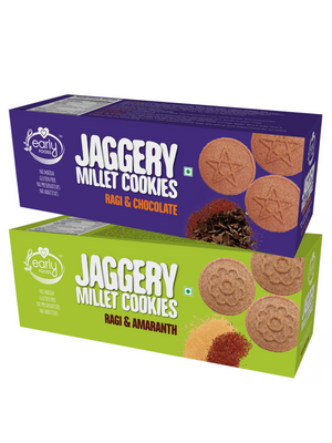 Assorted Pack of 2 - Ragi Amaranth & Ragi Choco Jaggery Cookies X 2, 150g each