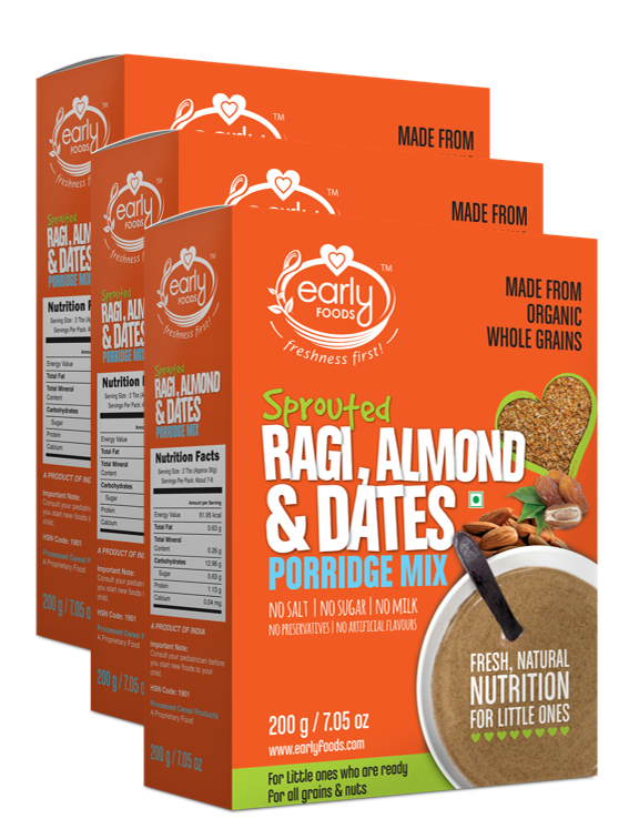Healthy Breakfast for Kids | Organic Sprouted Ragi Almond & Dates Porridge Mix - 200g Each, Combo 3 Pack