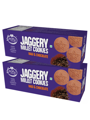 Pack of 2 - Organic Ragi and Choco Jaggery Cookies 150g X 2