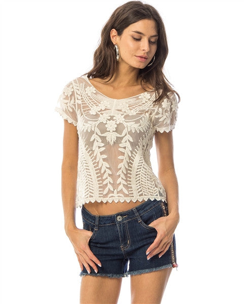 Ivory Embroidered Mesh Crochet Top