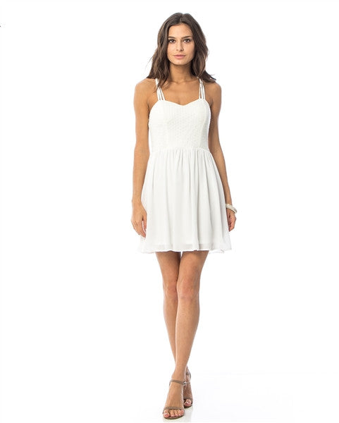 White Lace Flare Cami Crisscross Strap Dress
