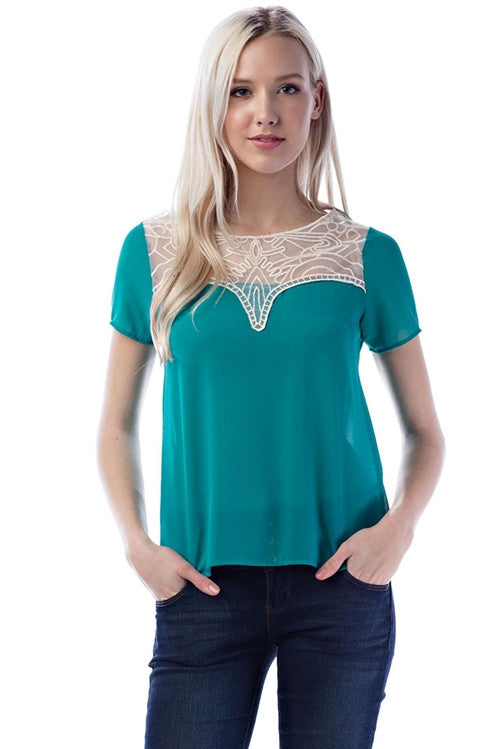 Jade Green Lace Detailed Top