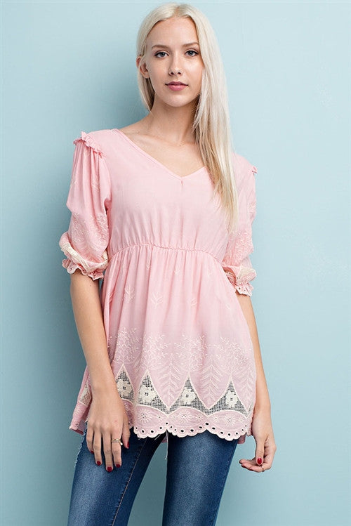 Blush Pink Ruffled Sleeve Embroidered Tunic
