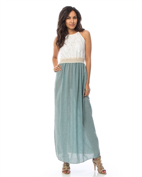 Teal Lace Crochet Maxi Dress