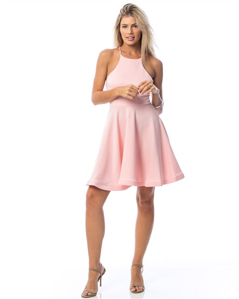 Pink High-Neck Stiff-Hem Cami Back Dress
