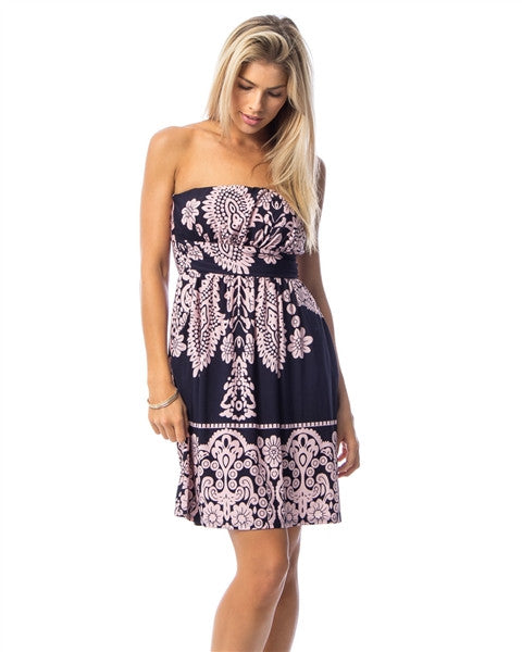 Navy Paisley Print Strapless Dress