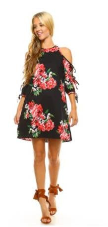 Black Floral Three Tie Cold Shoulder Dress