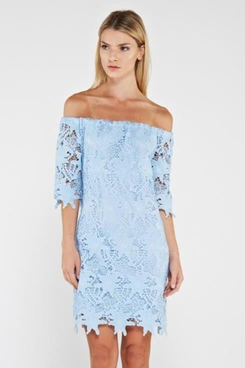 Blue Off The Shoulder Crochet Dress
