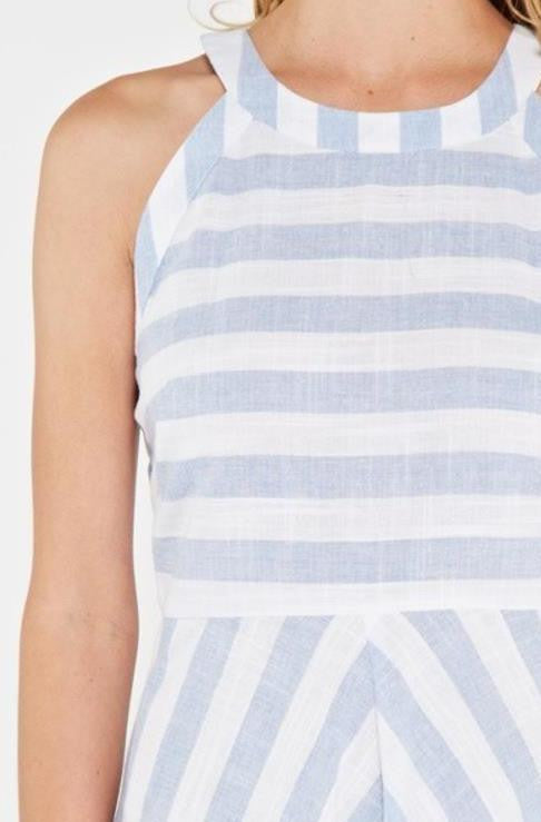Light Blue And White Striped A-Line Linen Dress