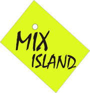 logo, green Mix Island label