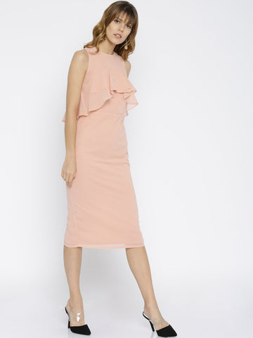 Rose pink Front Ruffle Midi Dress