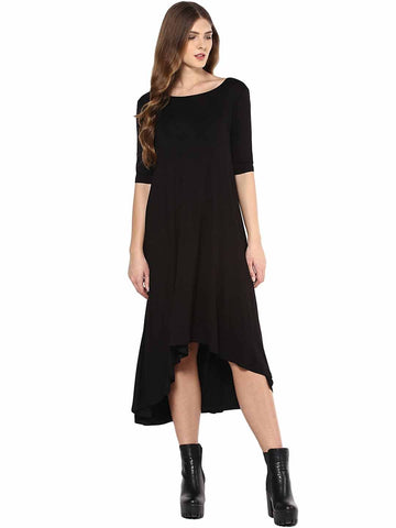 Black Jersey High Low Dress