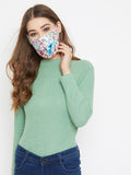 White Cotton Floral Curved Reusable Face Mask