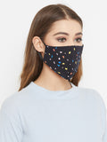 Black Cotton Confetti Curved Reusable Face Mask