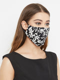 Black cotton floral Curved reusable mask