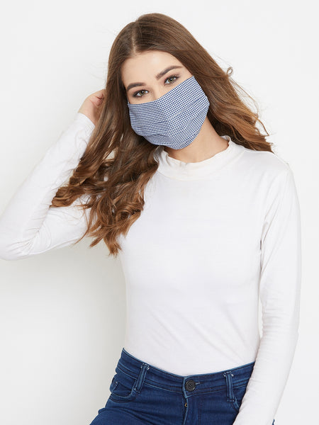 Blue cotton gingham pleated reusable face mask