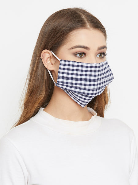 Navy cotton gingham reusable face mask