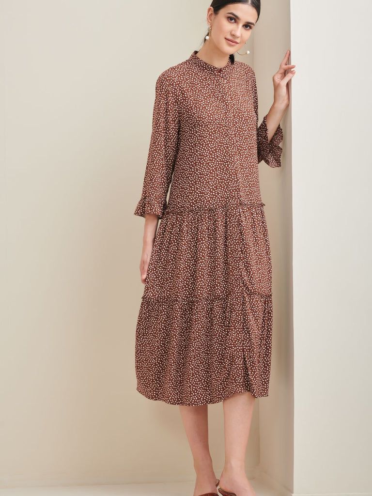 Brown Ditsy Printed Midi Shirt Dress