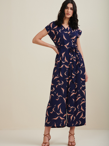 Navy Blue Bird Printed Jumpsuit