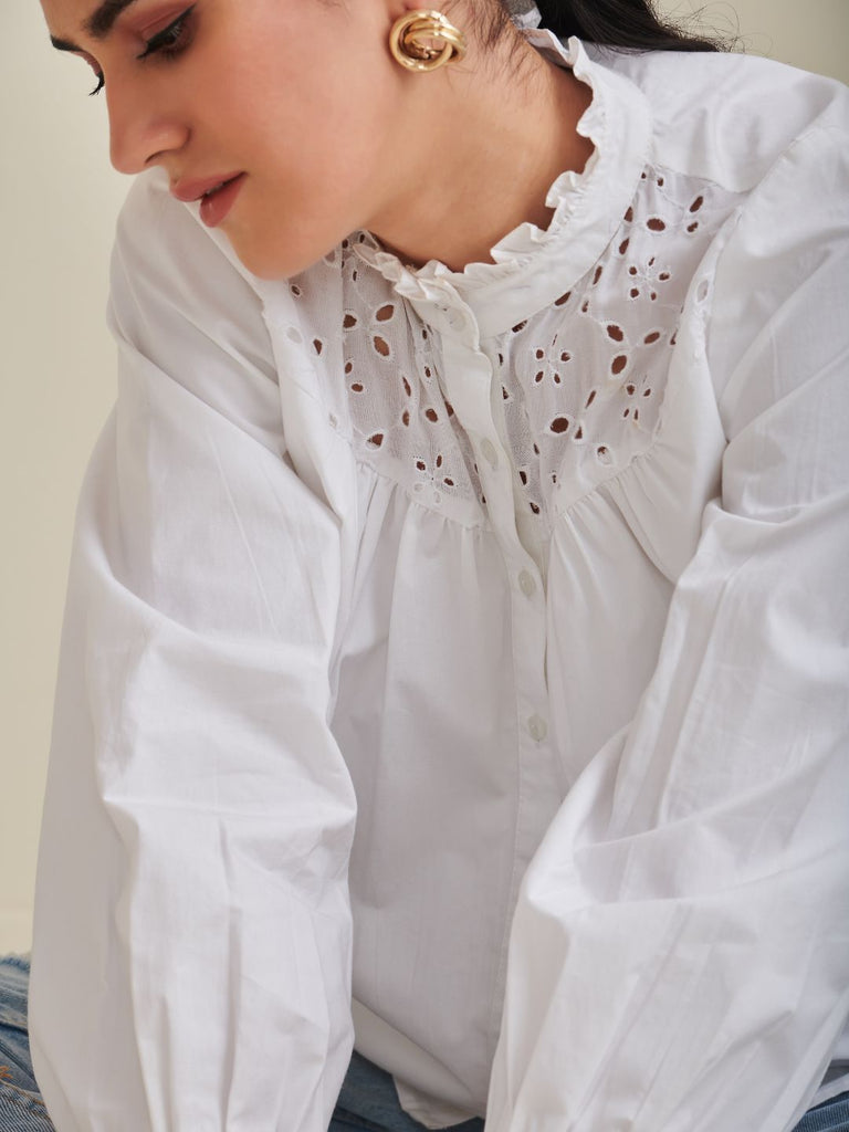 White Schiffli Yoke Button Down Shirt
