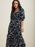 Green floral printed smocked bodice midi dress