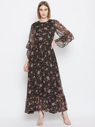 Black floral print flared sleeve maxi