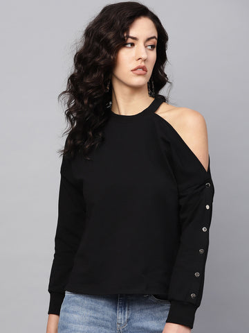 Black Cutout Ribbet Detail Sweatshirt