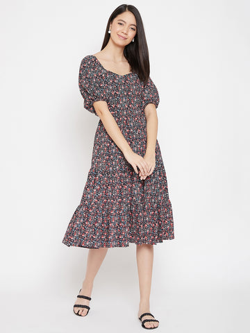 Black Ditsy Floral Tier Midi Dress