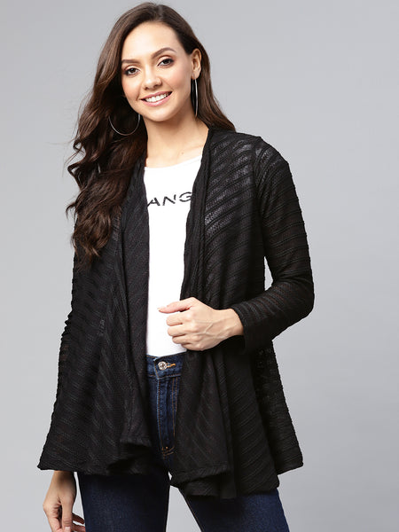 Black Mesh Textured Waterfall shrug