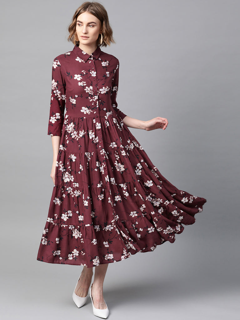 Wine Floral Tiered Shirt Dress