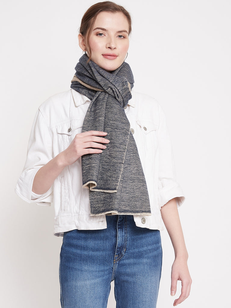 Blue and Beige reversible scarf
