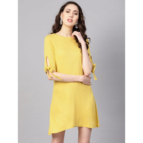 Yellow Tie-up Sleeve Mini Dress