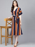 Navy Multicolor Striped wrap midi dress