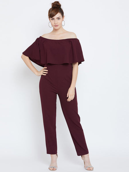 Wine Offshuolder Jumpsuit
