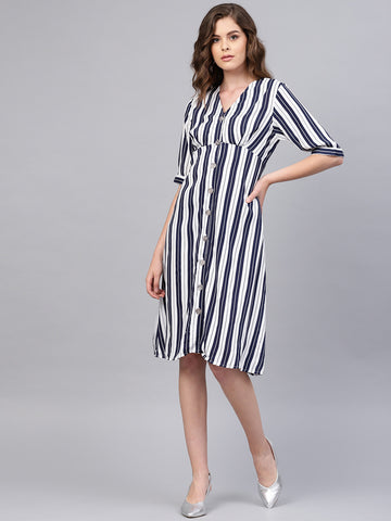 White Stripe Button Down Midi Dress