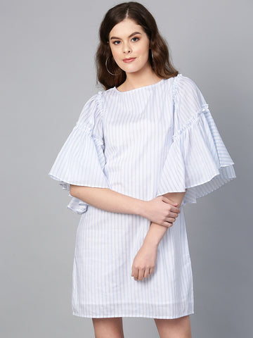 White stripe flared sleeves shift