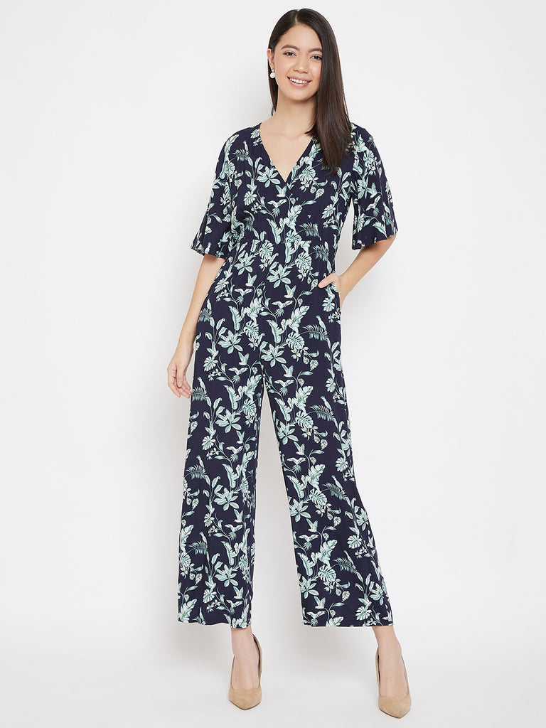 Navy tropical print wrap jumpsuit
